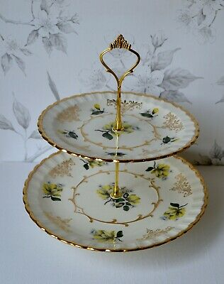WOOD & SONS Two Tiered Cake Stand Plate, Yellow Gold Floral, Magnolias, England