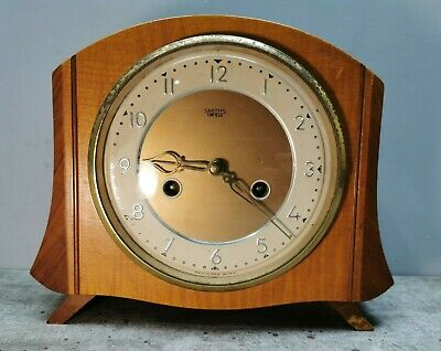 "SMITH'S Enfield 8-DAY STRIKING CLOCK Vintage 8"" Mantel Wooden 1950s + Extras"