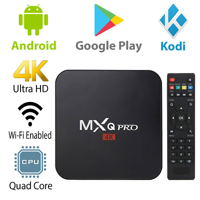 MXQ Pro 4K Ultra HD 3D 64Bit Wifi Android 7.1 Quad Core Smart TV Box + KODI 18
