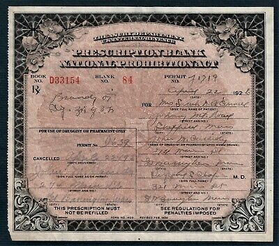 1926 Prohibition Prescription Antique Brandy Pharmacy Doctor Bar Apothecary MA