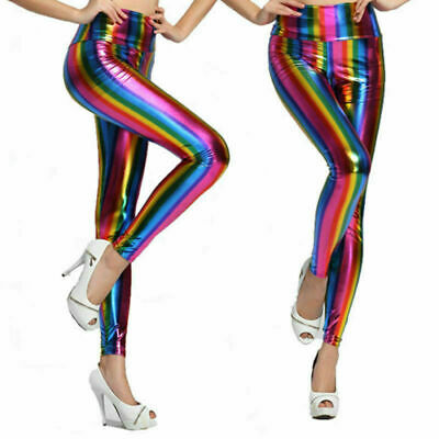 Kids Girls Ladies Rainbow Metallic PVC Shiny Legging Retro Disco Party 3-13 Yrs