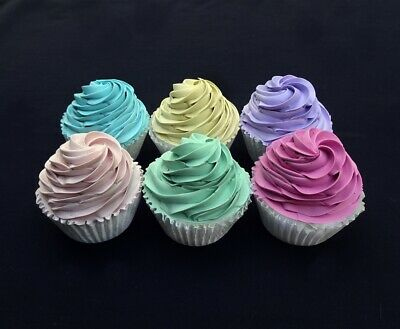 New! Set Of 6 Colorful Cupcake Fakes
