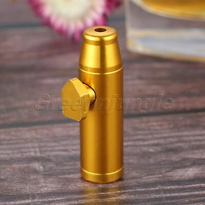 Mini Metal Snuff Box Bullet Shape 53mm Tobacco Herb Powder Sniffing Bottle Gold