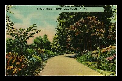 Us Postcard Greetings From Allaben New York Peaceful Wooded Roadside