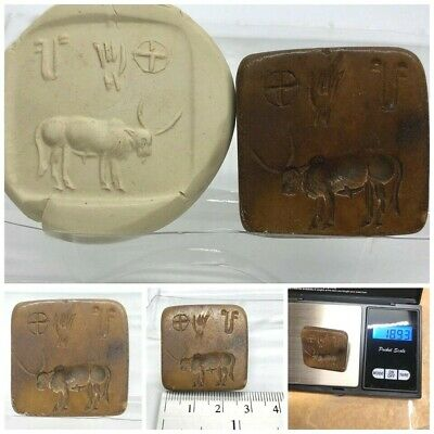 (28 mm)OLD Unique Cow Seal Intaglio & Indus valley inscription stone stamp #02