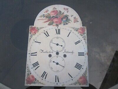Painted Grandfather Long Case Clock Arched Dial Face.