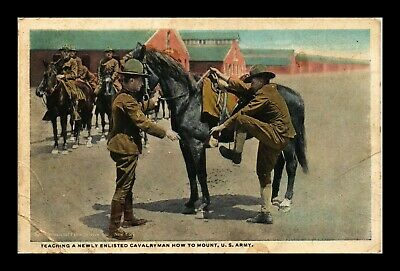 Us Postcard Teaching Newly Enlisted Cavalryman How To Mount Us Army