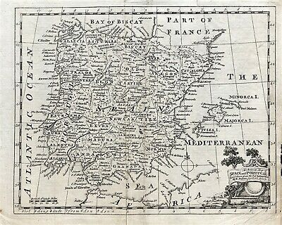 Map of SPAIN & PORTUGAL c1754 by E. Bowen