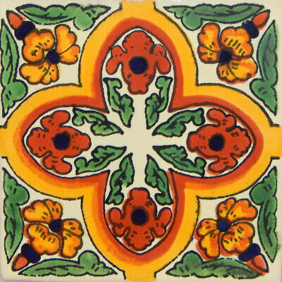 ONE Mexican Tile Hand painted Ceramic Handmade 4x4 C194
