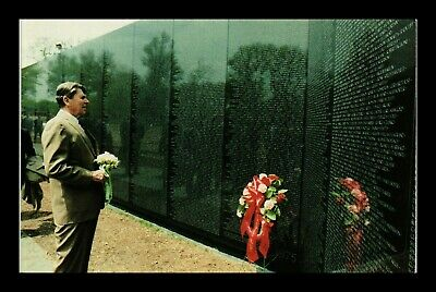 Us Postcard President Reagan Visits Washington Dc Vietnam Veterans Memorial
