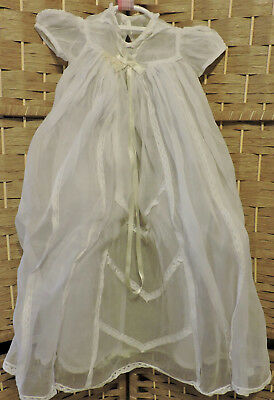 Vintage Heirloom Christening Infant's Gown w Slip Organza Cotton Lace 1960s