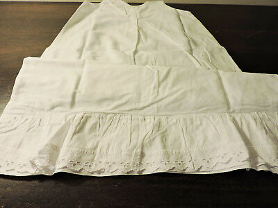 Vintage Christening Baptism Baby's Slip Off White Hand Stitched Lace 1950s