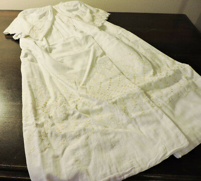 Vintage Christening Baptism Baby's Coat Off White Hand Stitched Cotton 1950s