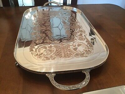 Beautiful Vintage Old Viners Ltd Silver Plated Chased Claw Footed Drinks Tray
