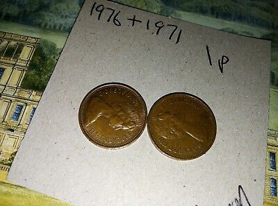 2 x coins dated 1971 & 1976 Coin 1p New Penny One Pence Queen Elizabeth II