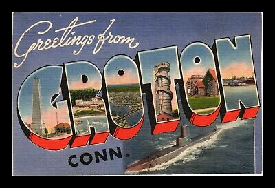 Us Linen Postcard Greetings From Groton Connecticut