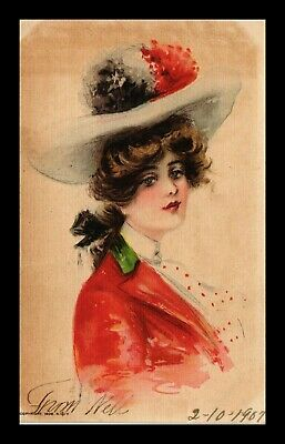 Us Linen Postcard Fancy Old Fashioned Lady In Hat Undivided Back