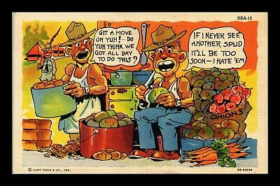 Us Linen Postcard Humor Cartoon Soldiers Tired Of Cutting Potatoes
