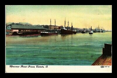 Us Postcard Maumee River Front & Boats Toledo Ohio Early 1900S