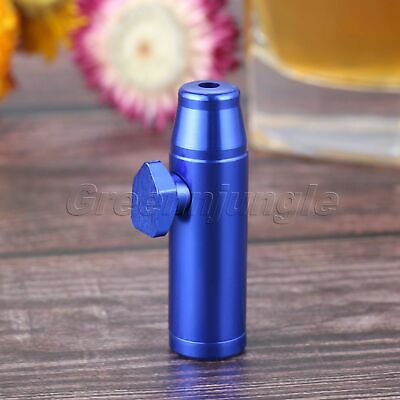 Mini Metal Snuff Box Bullet Shape 53mm Tobacco Herb Powder Sniffing Bottle Blue