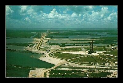Us Postcard Aerial View Pad 39A With Apollo/Saturn V Nasa Kennedy Space Center