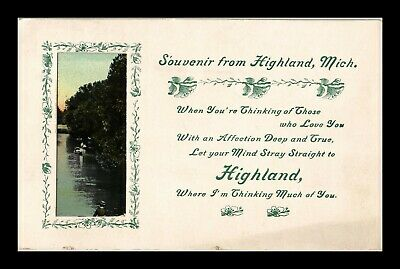 Us Postcard Souvenir From Highland Michigan Pasted On Boating Scene