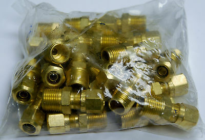 Brass Fittings DOT Air Brake Male Connector, Tube OD 1/2, Male Pipe 3/8, Qty 25