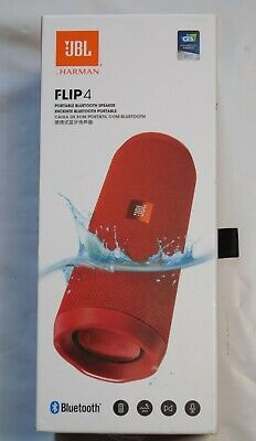 JBL Flip 4 Waterproof Portable Bluetooth Speaker - Red, Excellent Condition