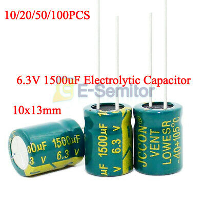 10/50/100PCS 6.3V 1500uF High Frequency Low ESR Radial Electrolytic Capacitor