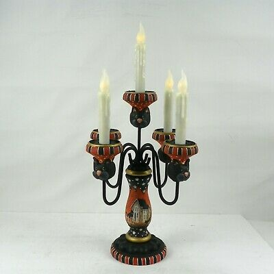 Halloween Lg Candelabra 5 Timer Candles  Hand Painted Primitive Folk Art  RJPE