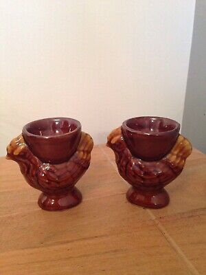 ** Collectable - Pair Timothy Whites - Brown Chicken Hen  Shaped Egg Cup Cups **