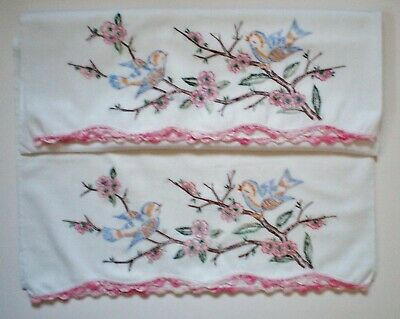 Pair Of Vintage Embroidered Pillow Cases With Crocheted Trim Blue Birds