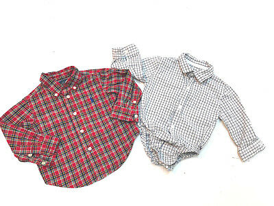 Lot 2 Baby Boy Long Sleeve Shirts Size 6-12 Months Ralph Lauren Janie & Jack