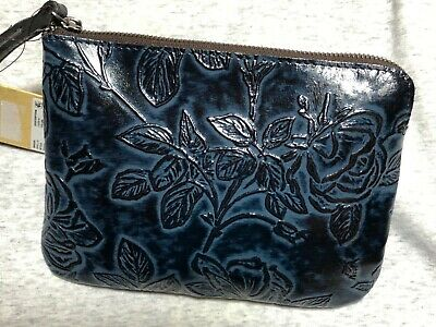 Patricia Nash CASSINI Bark Leaves Tooled Leather Wristlet in NAVY BLUE NWT