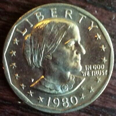 1980-P Susan B Anthony Uncirculated Dollar Coin . With Eagle Landing on the moon