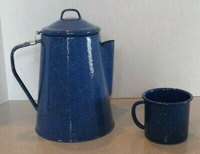 Vtg Blue Speckled Enamal Granite Ware Coffee Pot & Mug Cup Camping Enamelware