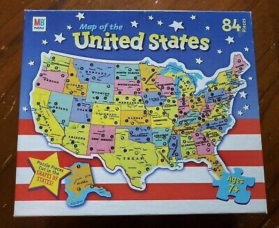 1961 MILTON BRADLEY Authentic Map Of The United States #4806 Puzzle ...
