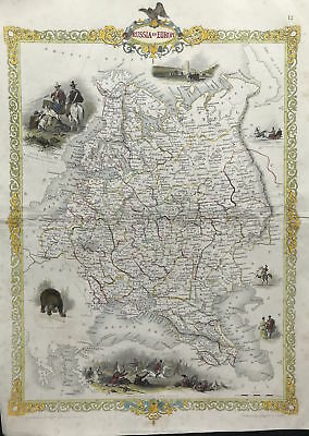 Antique Map RUSSIA IN EUROPE c1851 Tallis & Rapkin, engraved, colour, original