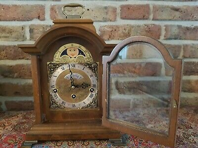 Rare Dutch Warmink Table clock with moon phase, Westminster Chime, Walnut Body