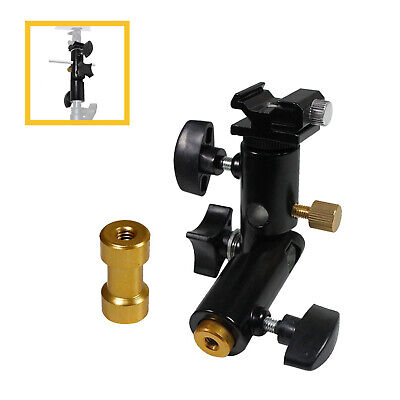 Flash Mount Shoe Bracket and Light Stand Mount with Umbrella Reflector Holder