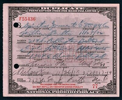 Prohibition Whisky Liquor Prescription Old Doctor Pharmacy Bar Baltimore MD 1932