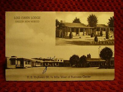 1940'S. Log Cabin Lodge. Gallup, New Mexico. Route 66 Postcard F9
