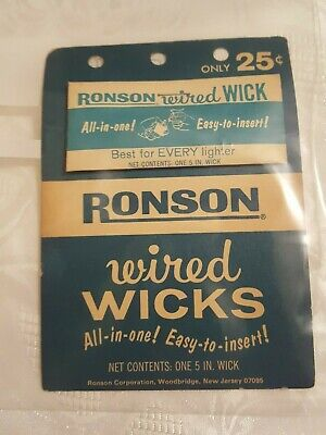 Vintage Ronson Wired Wick Only 25¢ Original Package On Original Hang Card