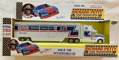 Road Champs Richard Petty #43 STP Race Team 1:64 Scale Transporter Truck White