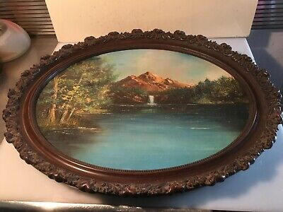 Large Antique Ornate Carved Wood Picture Frame Oil Painting Mountain Waterfall