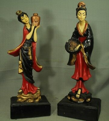 vintage old Oriental Asian Women Lady tall thin figurines statues chalkware