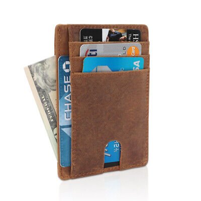 Genuine Leather Slim ID Card Holder Wallets For Men - Minimalist RFID Blocking
