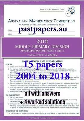 Australian Mathematics Competition AMC AMT 4 solutions Middle Primary Year 3 & 4