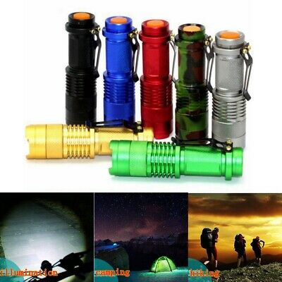 2x CREE Q5 LED Zoomable Focus Bright Flashlight Torch 1200LM Light AA/14500 AU