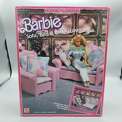 Fine Vintage 1987 Sweet Roses Barbie Sofa Bed Chair Lounger Bralicious Painted Fabric Chair Ideas Braliciousco